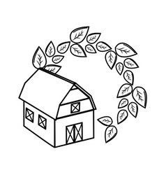 Silhouette organic farm with leaves plant vector