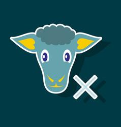Sticker sheep to fall asleep vector
