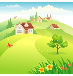 Village on the hills vector image vector image