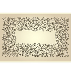 vintage frame with floral ornament vector image