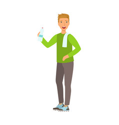 Young man holding bottle of water dressed in vector