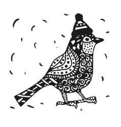 Zentagle robin bird in a christmas hat graphics vector