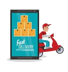 Smartphone box package delivery icon vector