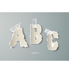 set alphabet torn paper with transparent vector image