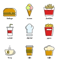 Line art food and drink icon set vector