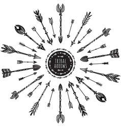 Round pattern with tribal arrows vector image