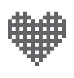 monochrome pixels forming grilled heart vector image