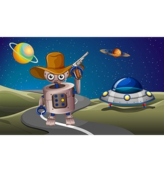 A robot at the road with a spaceship in the vector image