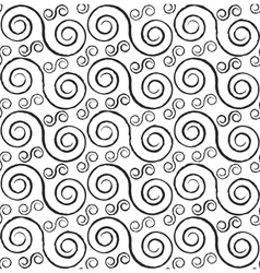 Black and white styled spirals seamless pattern vector
