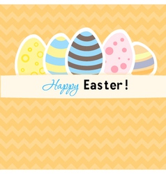 Easter orange card with five eggs vector