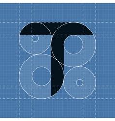 Round engineering font Symbol T vector image