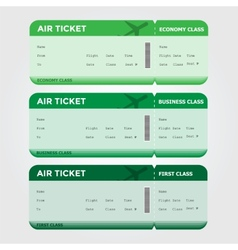 Three classes boarding pass green tint vector