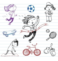 Sport and healthy lifestyle doodle set vector