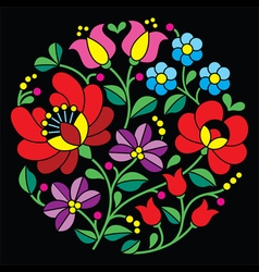 Kalocsai embroidery - hungarian round floral folk vector