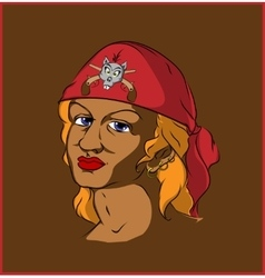 Pirate in red bandana vector