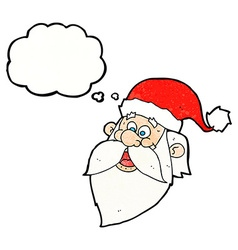 Cartoon jolly santa claus face with thought bubble vector