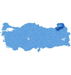 Map of turkey artvin vector