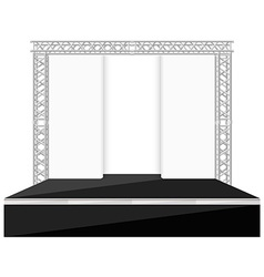 Black color flat style stage with scenes back vector