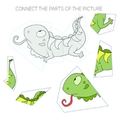 Puzzle game for children iguana vector