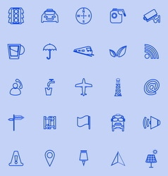 Map sign line icons on blue background vector
