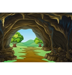 Nature scene of cave and trail vector image