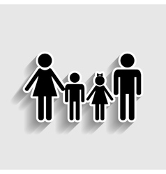 Family sign sticker style icon vector