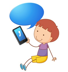 Boy with cell phone vector