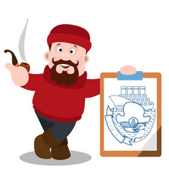 A fisherman with a large poster is a cartoon vector