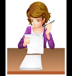 A young woman taking an exam vector image vector image