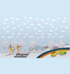 bobsleigh biathlon concept in vector image vector image