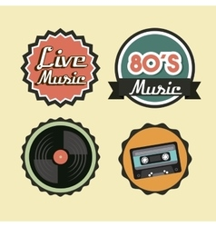 Cassette vinyl and seal stamp icon retro and vector