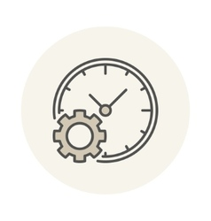 Clock with gear icon vector