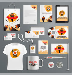 corporate identity items for sushi bar vector image vector image