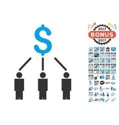 Crowdfunding icon with 2017 year bonus pictograms vector