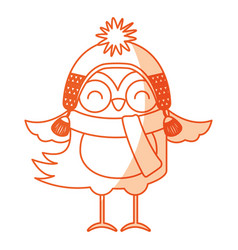 Cute shadow christmas bird cartoon vector