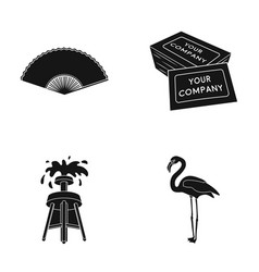 Fan business card and other web icon in black vector