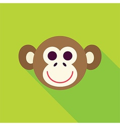Flat Design Monkey Face Icon vector image
