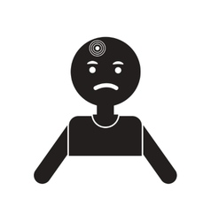Flat icon in black and white style man headache vector