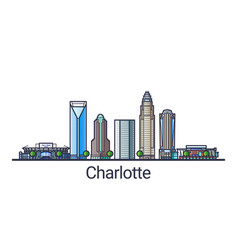 Flat line charlotte banner vector