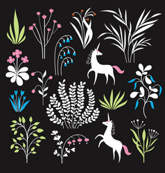 floral set botany vector image
