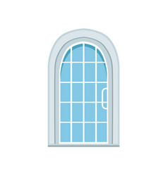 Glass paned arched front door closed elegant vector