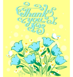 Grateful card in doodle style with flowers vector