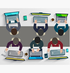 group of business people working using digital vector image