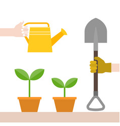 Hand with glove handle shovel and watering can vector