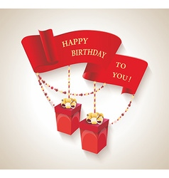 Happy birthday design with gift boxes and red vector