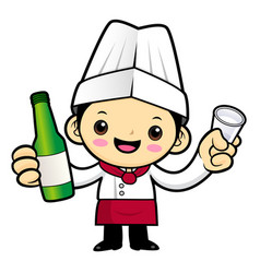 Head chef character holding a distilled spirits vector