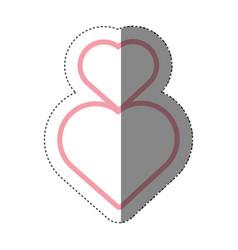 hearts love decoration shadow vector image
