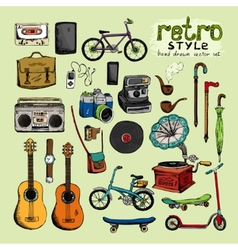 hipster retro style objects vector image