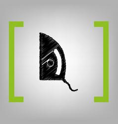 Iron sign black scribble icon in citron vector