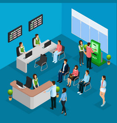 Isometric people in bank office concept vector